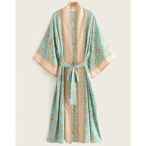 Boho mint floral print belted kimono